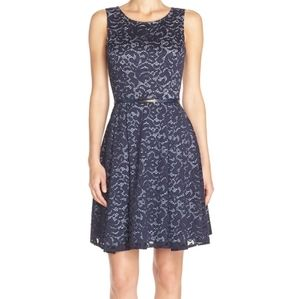Gabby Skye Gingham & Lace Fit & Flare Dress  10